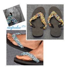 Blue beaded slipper